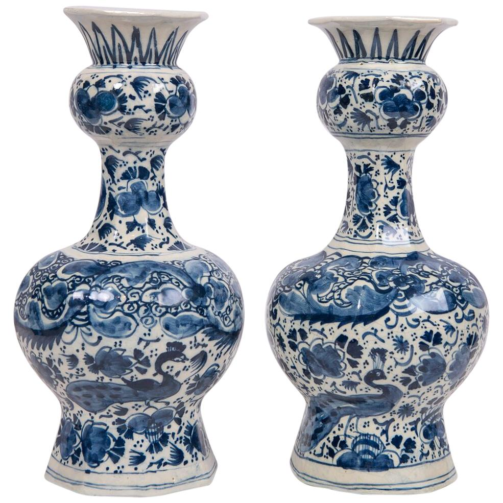 Pair of Blue and White Delft Vases Showing Peacocks and Flowers, 18th Century