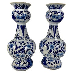Pair of Blue and White Delft Vases