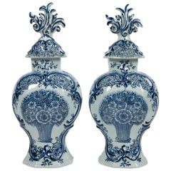 Pair of Blue and White Dutch Delft Mantle Jars Made, Netherlands, circa 1820