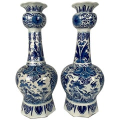 Pair of Blue and White Dutch Delft Vases, 18th Century