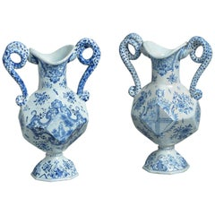 Pair of Blue and White Faience Pottery Vases