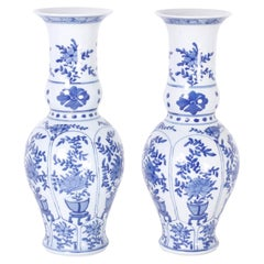 Pair of Blue and White Floral Vases