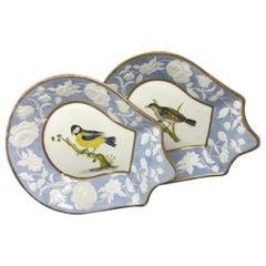 Pair of Blue and White Gilt Bird Dishes
