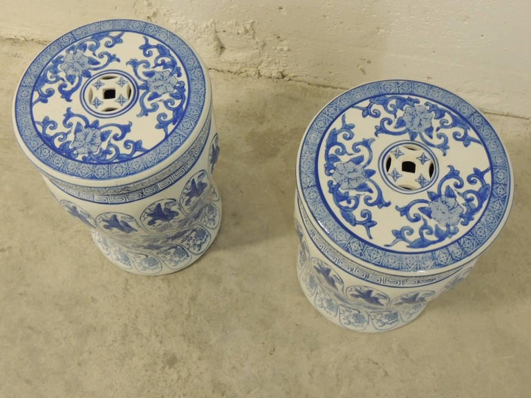 Pair Of Blue And White Hand Painted Ceramic Garden Vintage