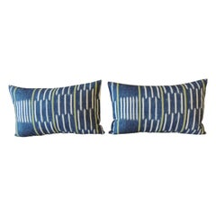 Pair of Blue and White Ikat Style Modern Lumbar Decorative Pillows