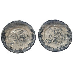 Pair of Blue and White Majolica Platters from Florence Italy, Early 1900s