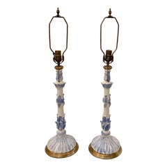 Pair of Blue and White Painted Wood Lamps