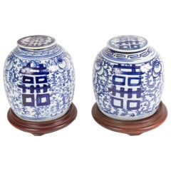 Pair of Blue and White Porcelain Chinese Ginger Jars For Sale