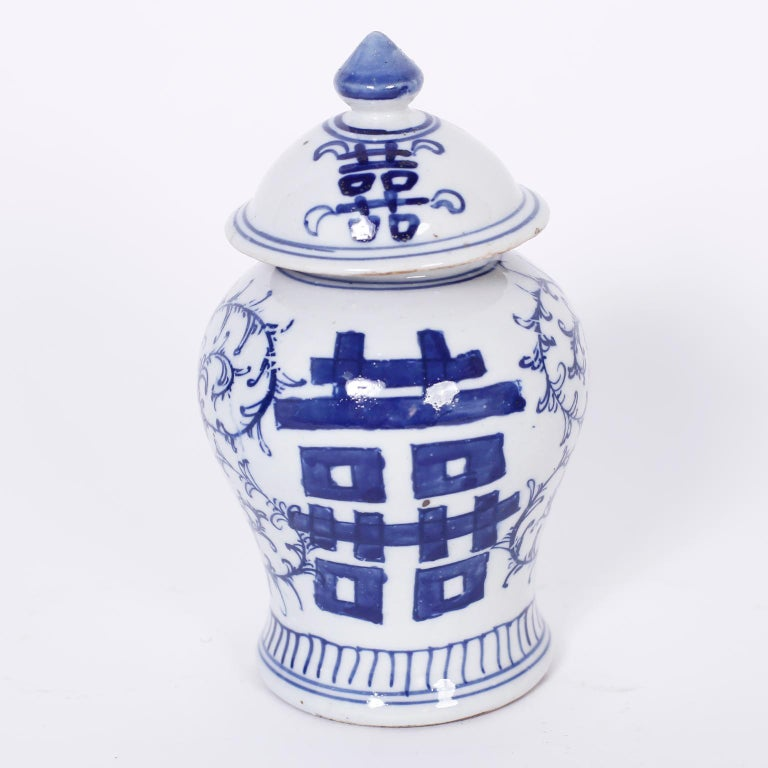 Chinoiserie Pair of Blue and White Porcelain Double Happiness Jars For Sale