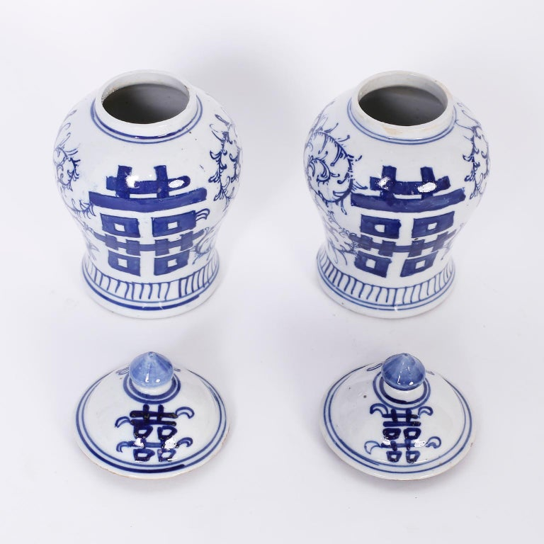 Hand-Painted Pair of Blue and White Porcelain Double Happiness Jars For Sale