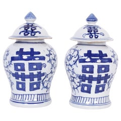 Pair of Blue and White Porcelain Double Happiness Jars
