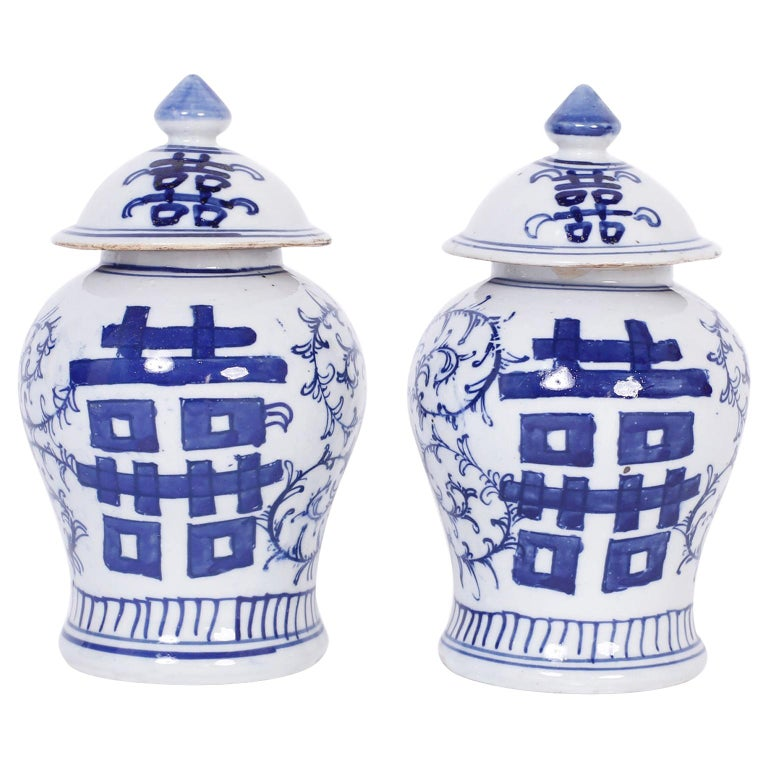 Pair of Blue and White Porcelain Double Happiness Jars For Sale