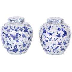 Pair of Blue and White Porcelain Ginger Jars
