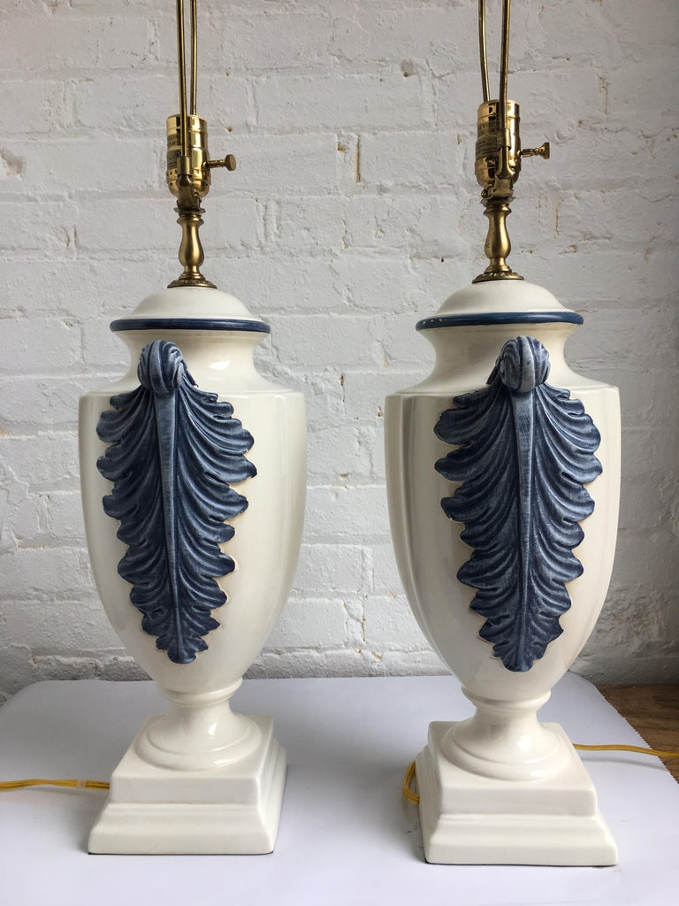 Hollywood Regency Style Blue and White Porcelain Glazed Urn Lamps In Good Condition For Sale In Lambertville, NJ