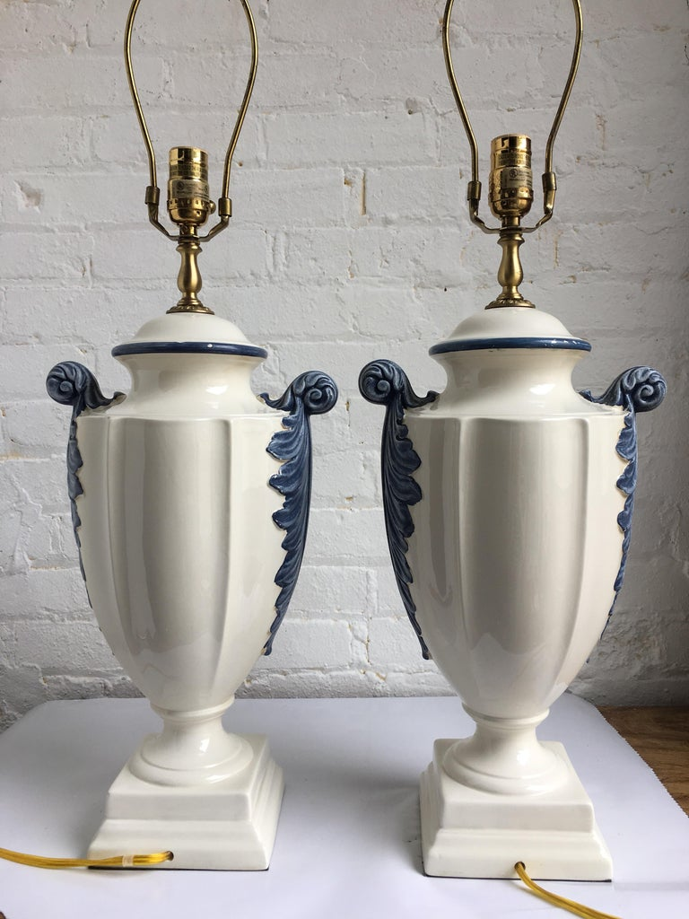Brass Hollywood Regency Style Blue and White Porcelain Glazed Urn Lamps For Sale
