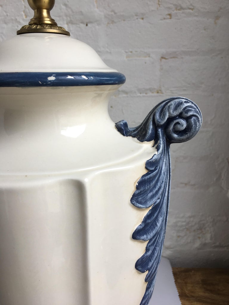 Hollywood Regency Style Blue and White Porcelain Glazed Urn Lamps For Sale 3