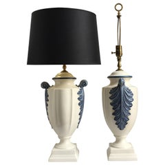 Hollywood Regency Style Blue and White Porcelain Glazed Urn Lamps