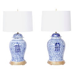 Pair of Blue and White Porcelain Happiness Jar Table Lamps