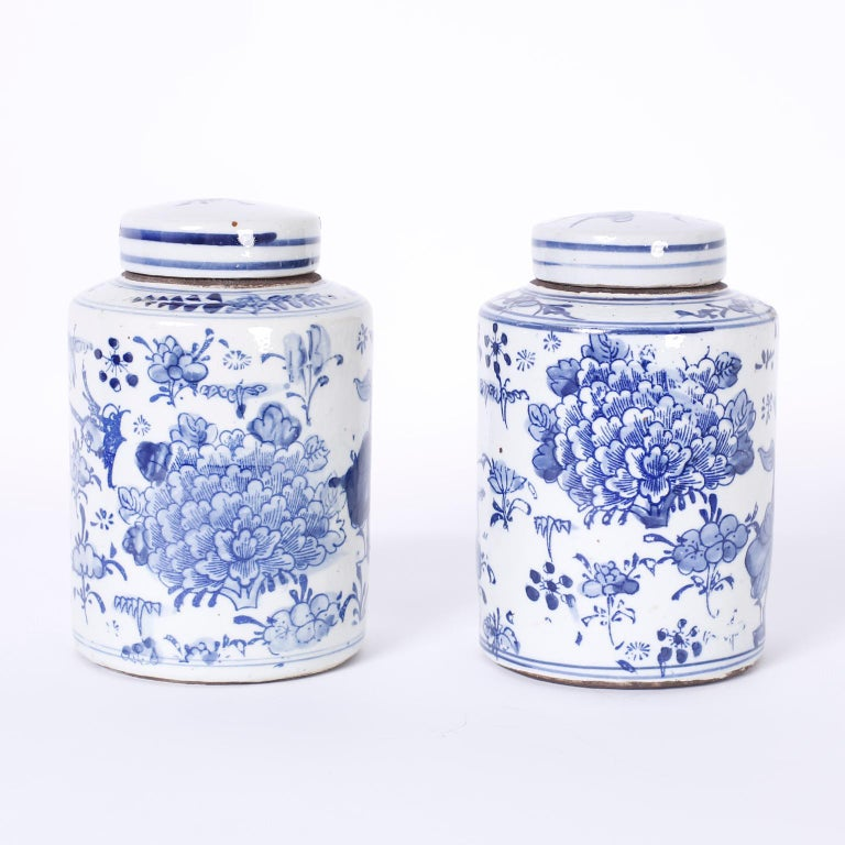 Pair of Chinese blue and white porcelain lidded ginger jars or canisters hand decorated with flowers and humming birds.