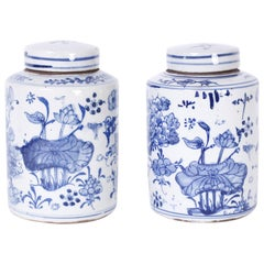 Pair of Blue and White Porcelain Jars