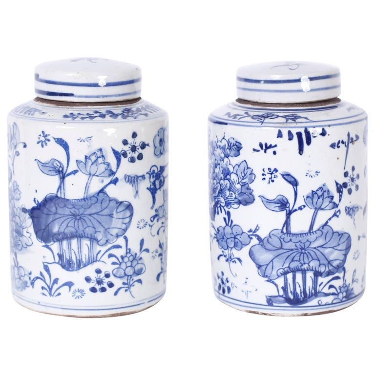 Pair of Blue and White Porcelain Jars For Sale