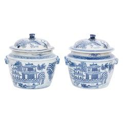 Pair of Blue and White Porcelain Pots with Pagodas