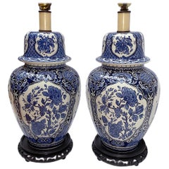 Pair of Blue and White Porcelain Table Lamps