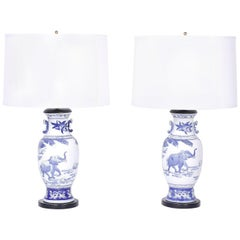 Pair of Blue and White Porcelain Table Lamps with Elephants