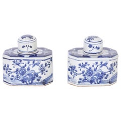Pair of Blue and White Porcelain Tea Caddies with Flowers