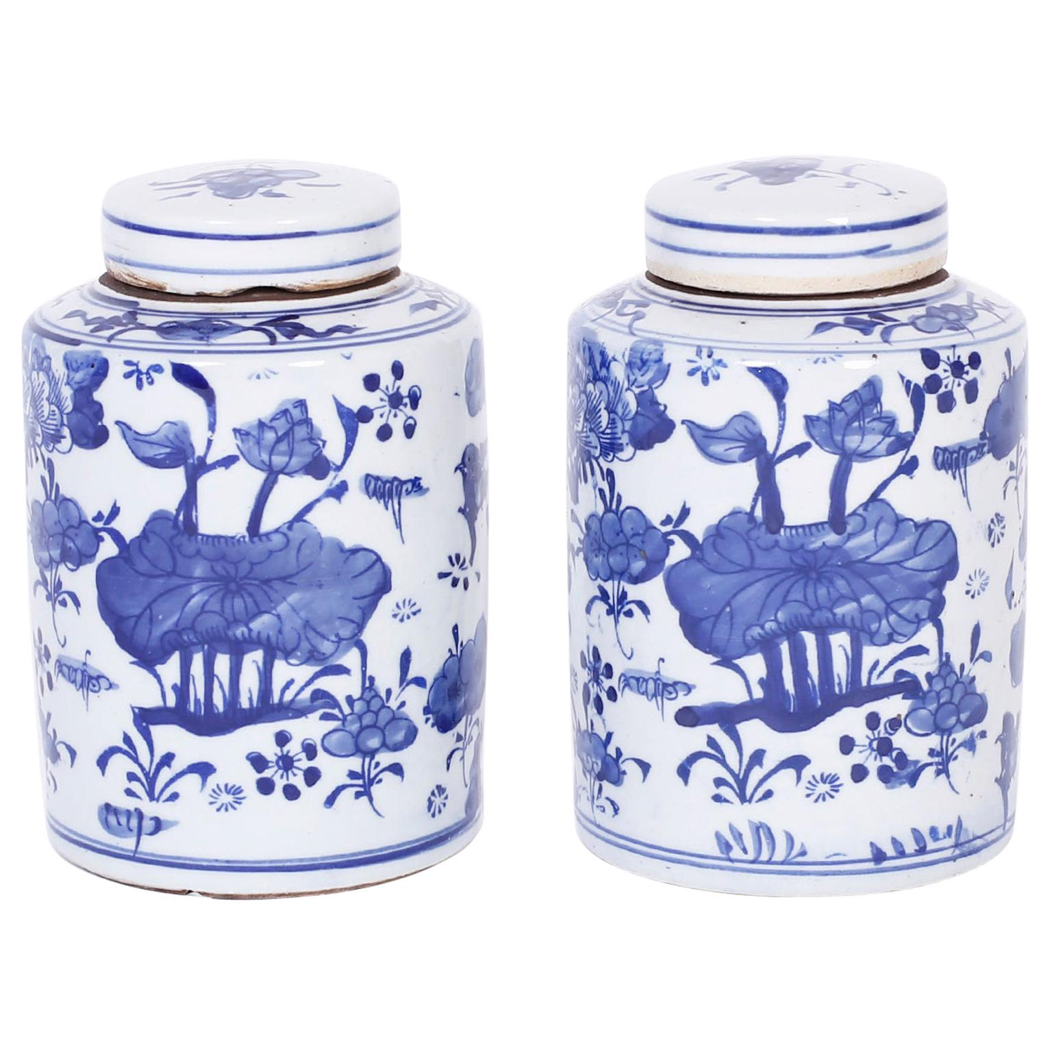 Pair of Blue and White Porcelain Tea Jars