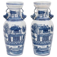 Pair of Blue and White Porcelain Vases with Pagodas