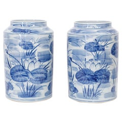 Pair of  Blue and White Porcelain Vases with Water Lillies