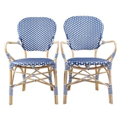 Pair of Blue and White Serena & Lily Woven Chairs