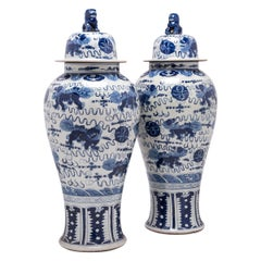 Pair of Blue and White Shizi Ginger Jars
