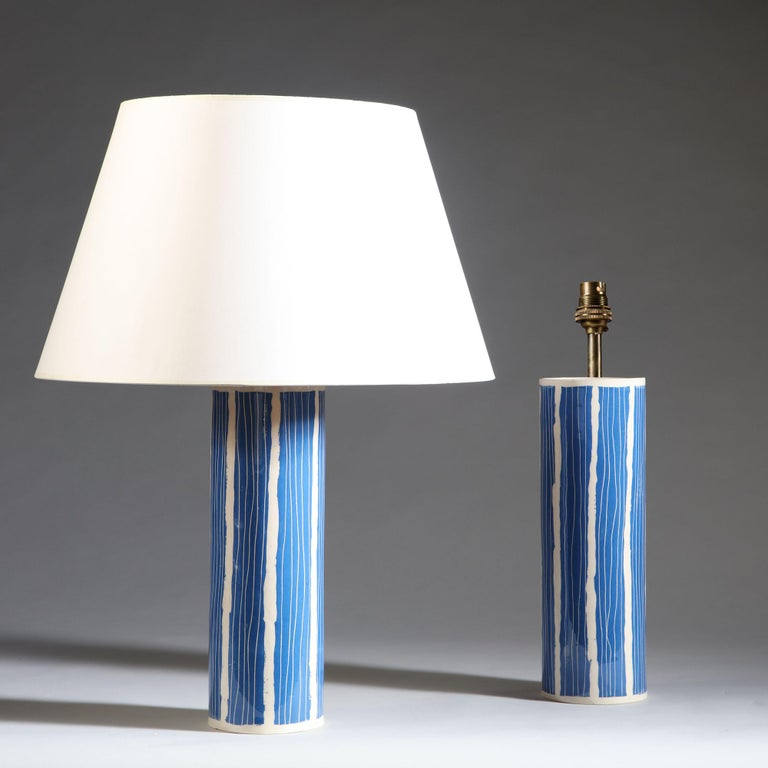 Glazed Pair of Blue and White Studio Pottery Vases For Sale