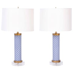 Pair of Blue and White Table Lamps