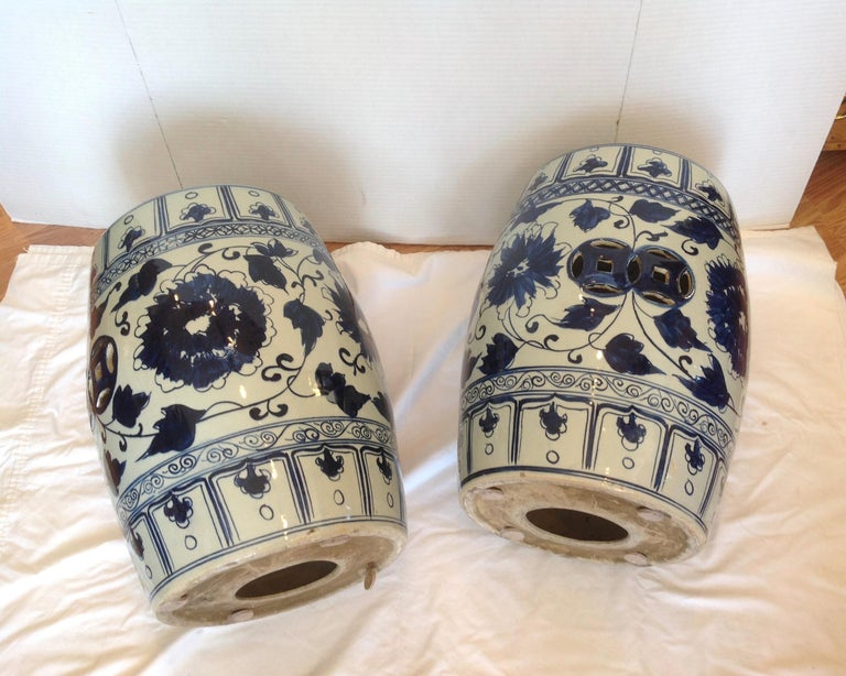 Pair of Blue and White Terra Cotta Garden Seats For Sale 5