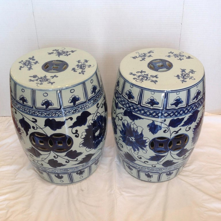 Chinese Pair of Blue and White Terra Cotta Garden Seats For Sale