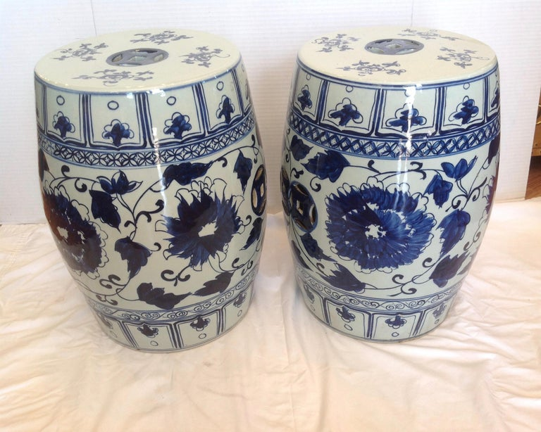 Glazed Pair of Blue and White Terra Cotta Garden Seats For Sale