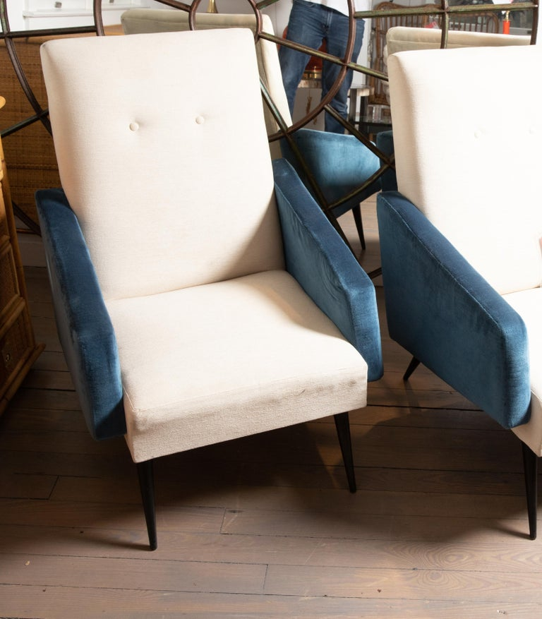 Italian Pair of Blue and White Upholstered Armchairs For Sale