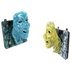 Pair of Blue and Yellow Ceramic Face-Shaped 1950s Wall Hanger