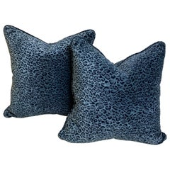 Pair of Blue Animal Print Velvet Cushions