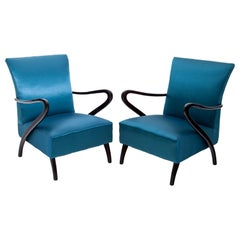 Pair of Blue Armchairs, Attributed to Paolo Buffa, Italy, 1940s