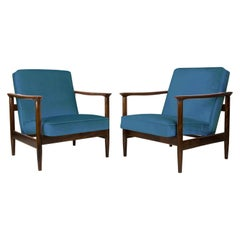 Pair of Blue Armchairs, Edmund Homa, GFM-142, 1960s, Poland