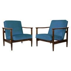 Pair of Blue Armchairs, Edmund Homa, GFM-142, 1960s, Poland