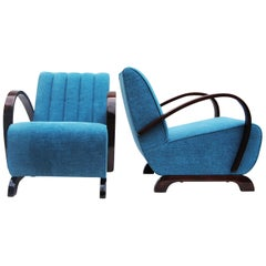 Pair of Blue Art Deco Armchairs from Czechoslovakia by Jindrich Halabala