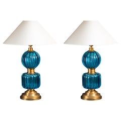 Pair of Blue Blown Murano Glass Lamps