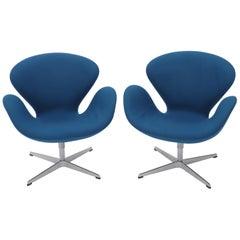 Pair of Blue Boiled Wood Upholstery Swan Chairs Arne Jacobsen Fritz Hansen