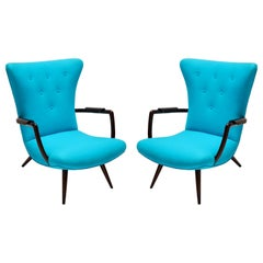 Pair of Blue Brazilian Paulistana Wood Armchairs in the Style of Scapinelli