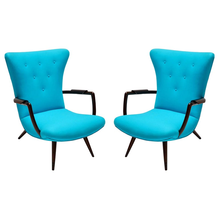 Pair of Blue Brazilian Paulistana Wood Armchairs in the Style of Scapinelli For Sale